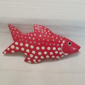 3/$20 Large Wooden Pink Polka Dot Fish Brooch